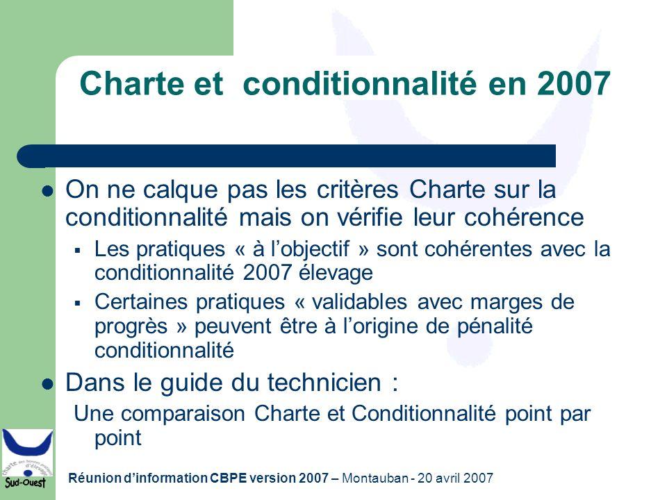 Réunion dinformation CBPE version 2007 – Montauban - 20 avril 2007 Charte et conditionnalité en 2007 On ne calque pas les critères Charte sur la condi
