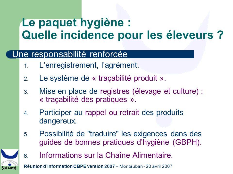 Réunion dinformation CBPE version 2007 – Montauban - 20 avril 2007 Le paquet hygiène : Quelle incidence pour les éleveurs ? 1. Lenregistrement, lagrém
