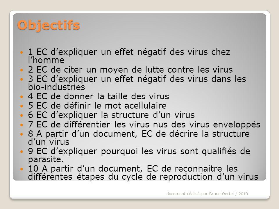 I POURQUOI SINTERESSER AUX VIRUS ? Doc 1 document réalisé par Bruno Oertel / 2013