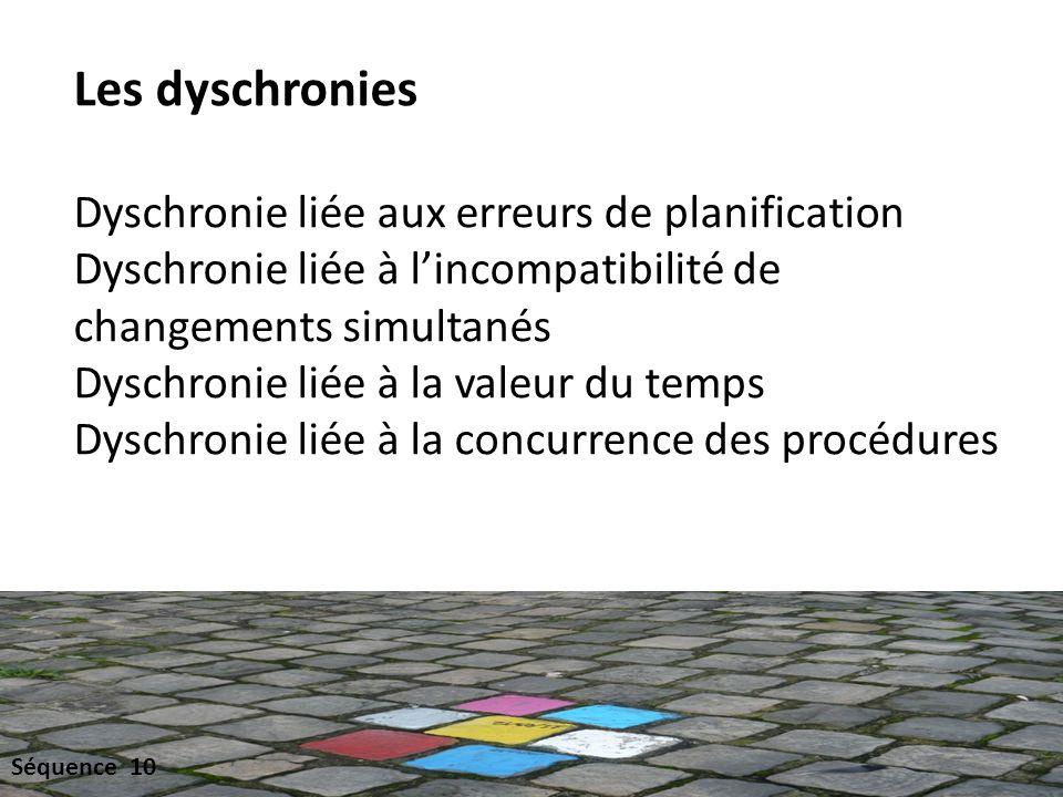 Les dyschronies Dyschronie liée aux erreurs de planification Dyschronie liée à lincompatibilité de changements simultanés Dyschronie liée à la valeur du temps Dyschronie liée à la concurrence des procédures Séquence 10