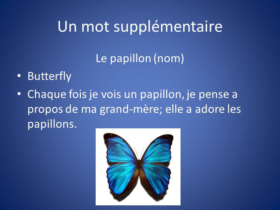 Un mot supplémentaire Le papillon (nom) Butterfly Chaque fois je vois un papillon, je pense a propos de ma grand-mère; elle a adore les papillons.