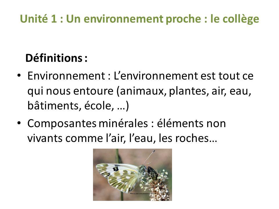 Unité 1 : Un environnement proche : le collège Définitions : Environnement : Lenvironnement est tout ce qui nous entoure (animaux, plantes, air, eau, bâtiments, école, …) Composantes minérales : éléments non vivants comme lair, leau, les roches…