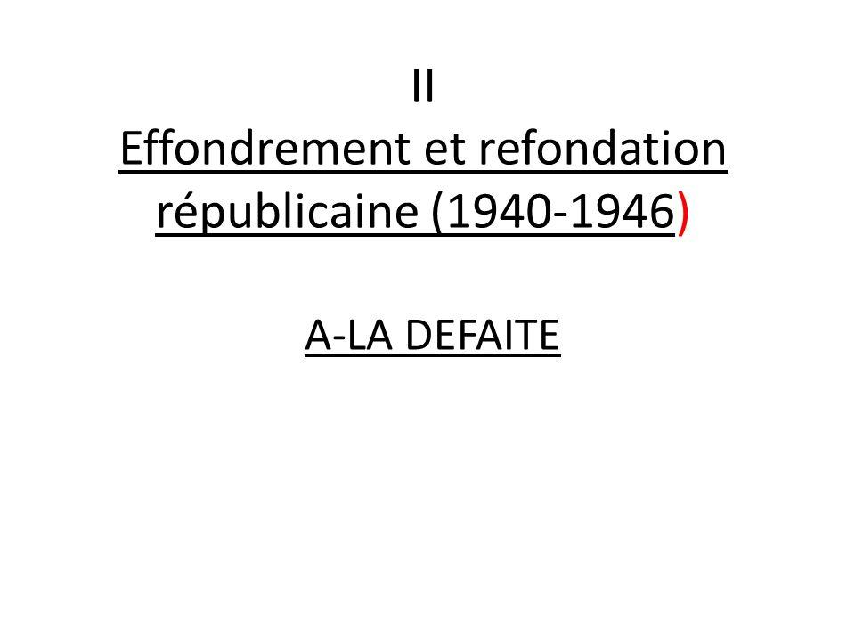 II Effondrement et refondation républicaine (1940-1946) A-LA DEFAITE