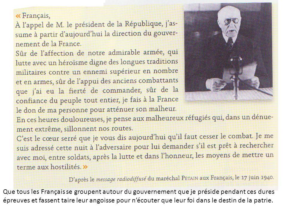 En quoi la défaite française de 1940 conduit-elle à la disparition de la III e République? Que tous les Français se groupent autour du gouvernement qu
