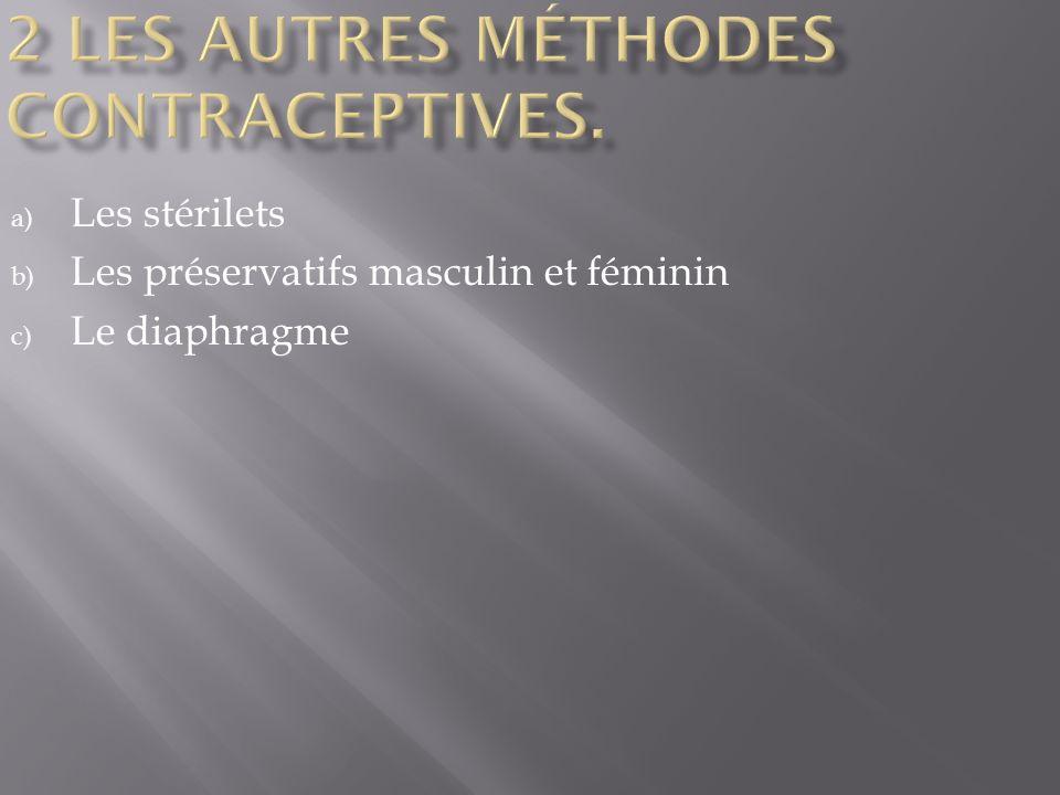 a) Les stérilets b) Les préservatifs masculin et féminin c) Le diaphragme