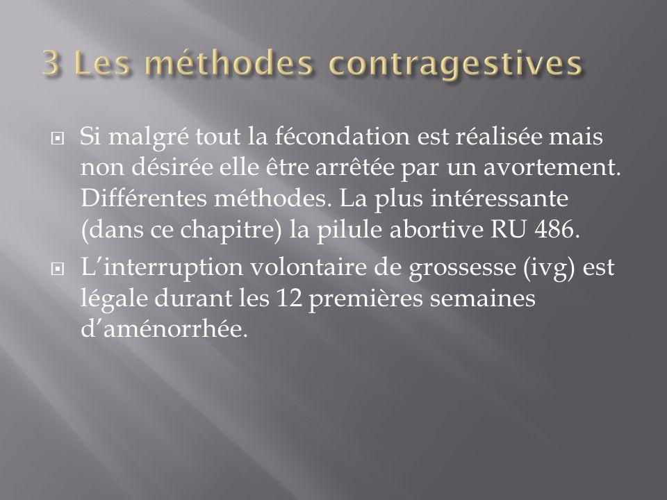 Si malgré tout la fécondation est réalisée mais non désirée elle être arrêtée par un avortement. Différentes méthodes. La plus intéressante (dans ce c