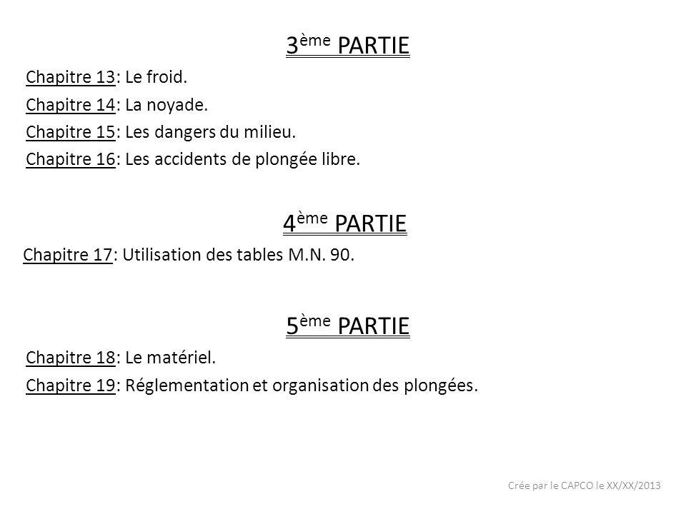 Crée par le CAPCO le XX/XX/2013 3 ème PARTIE Chapitre 13: Le froid. Chapitre 14: La noyade. Chapitre 15: Les dangers du milieu. Chapitre 16: Les accid
