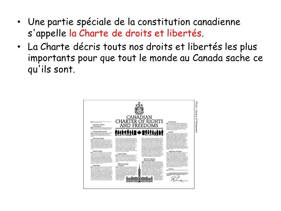 Une partie spéciale de la constitution canadienne s'appelle la Charte de droits et libertés. La Charte décris touts nos droits et libertés les plus im