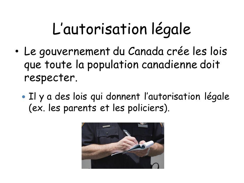 Lautorisation légale Le gouvernement du Canada crée les lois que toute la population canadienne doit respecter. Il y a des lois qui donnent lautorisat