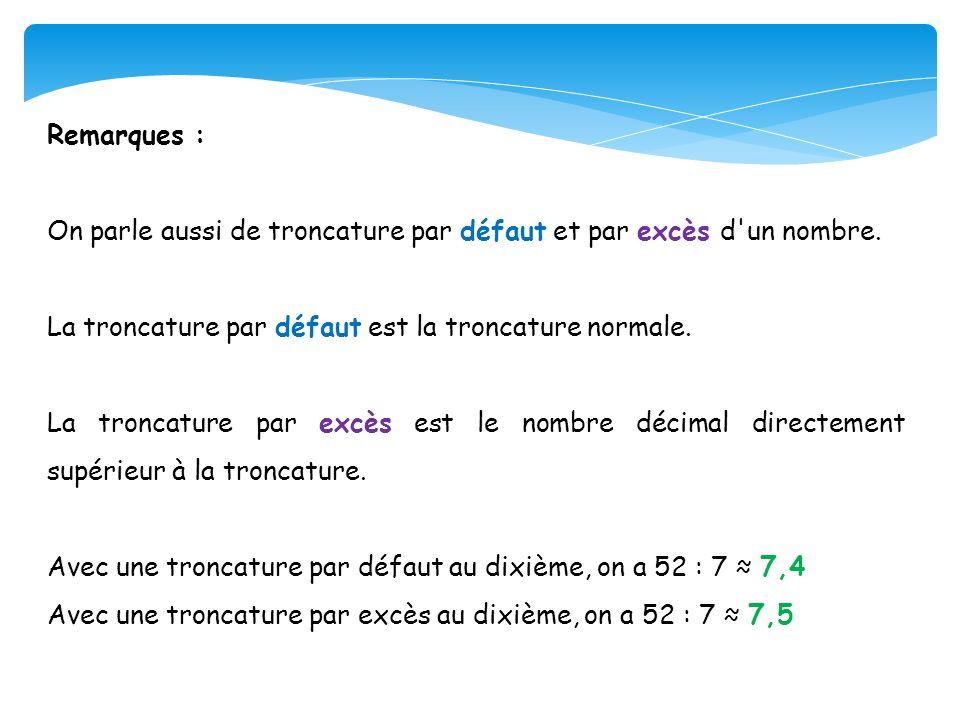 Remarques : On parle aussi de troncature par défaut et par excès d'un nombre. La troncature par défaut est la troncature normale. La troncature par ex