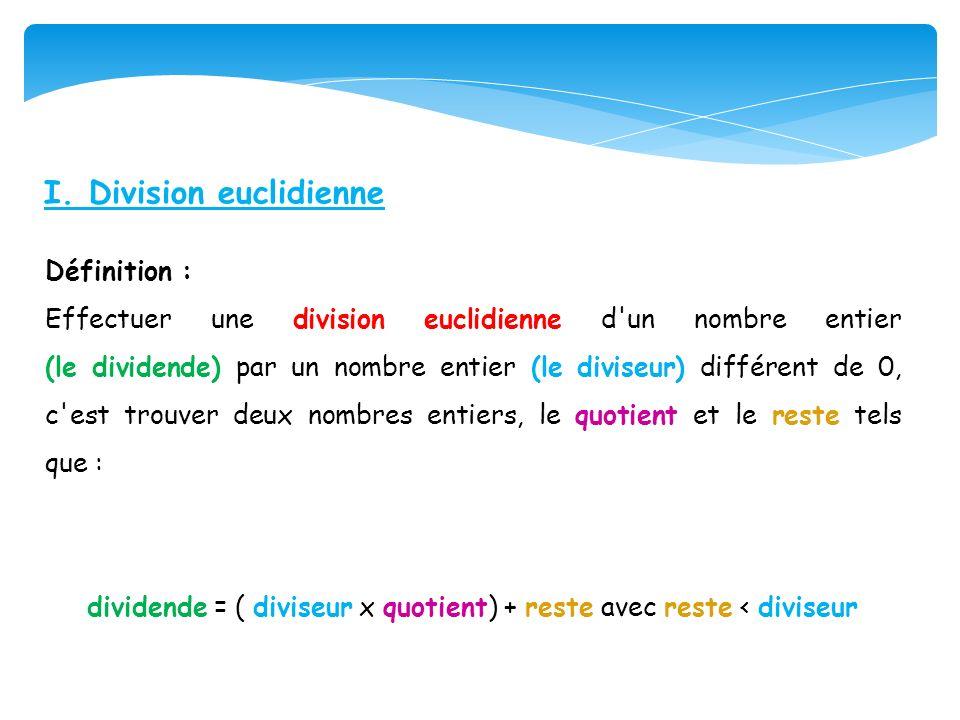 I. Division euclidienne Définition : Effectuer une division euclidienne d'un nombre entier (le dividende) par un nombre entier (le diviseur) différent