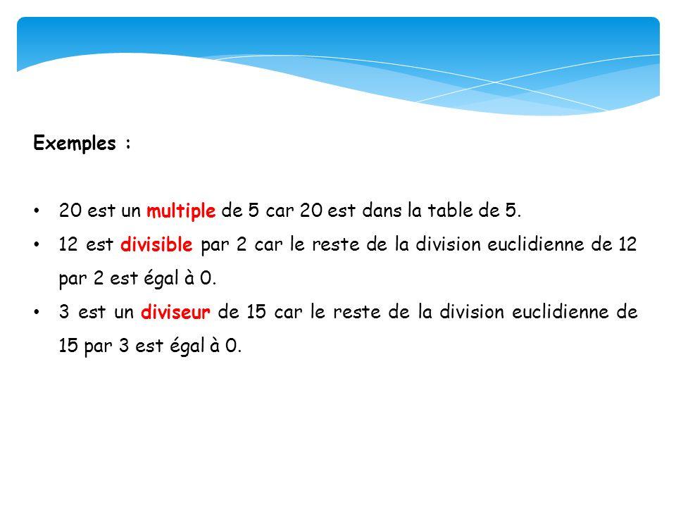 Exemples : 20 est un multiple de 5 car 20 est dans la table de 5. 12 est divisible par 2 car le reste de la division euclidienne de 12 par 2 est égal
