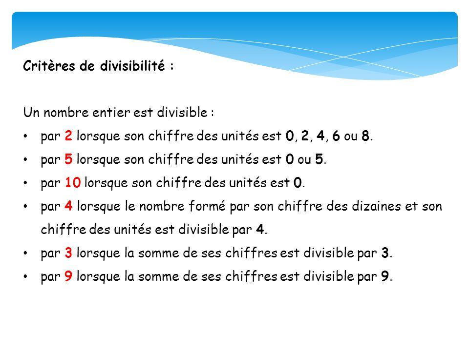 Critères de divisibilité : Un nombre entier est divisible : par 2 lorsque son chiffre des unités est 0, 2, 4, 6 ou 8. par 5 lorsque son chiffre des un
