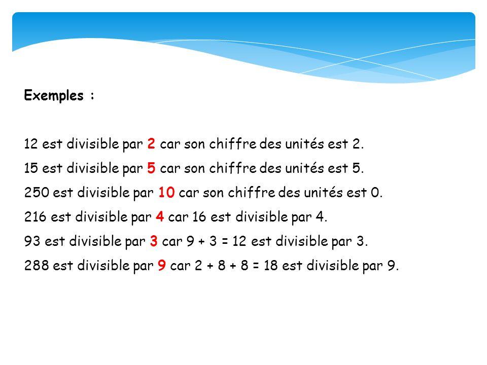 Exemples : 12 est divisible par 2 car son chiffre des unités est 2. 15 est divisible par 5 car son chiffre des unités est 5. 250 est divisible par 10