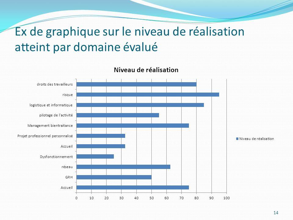 Ex de graphique sur le niveau de réalisation atteint par domaine évalué 14