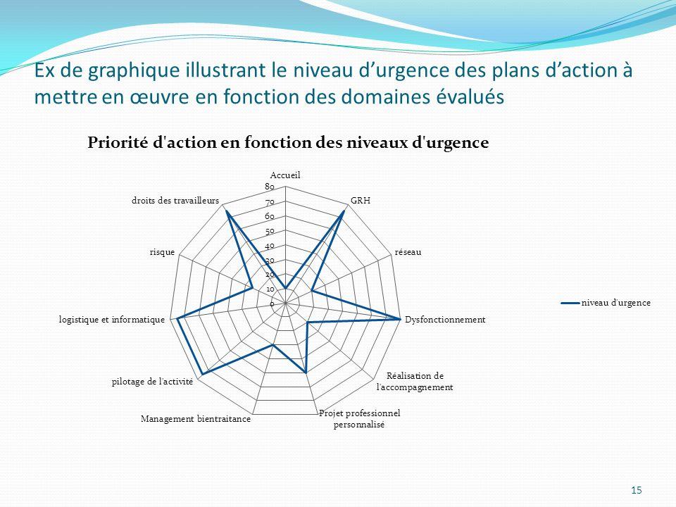 Ex de graphique illustrant le niveau durgence des plans daction à mettre en œuvre en fonction des domaines évalués 15