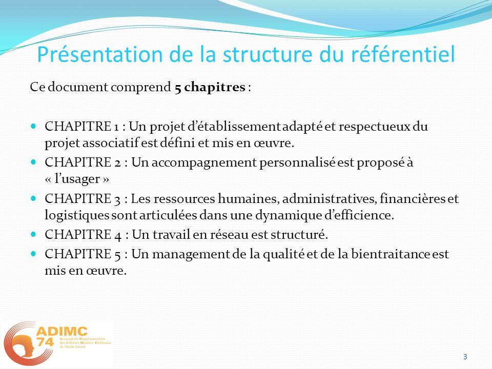 Présentation de la structure du référentiel 3 Ce document comprend 5 chapitres : CHAPITRE 1 : Un projet détablissement adapté et respectueux du projet associatif est défini et mis en œuvre.