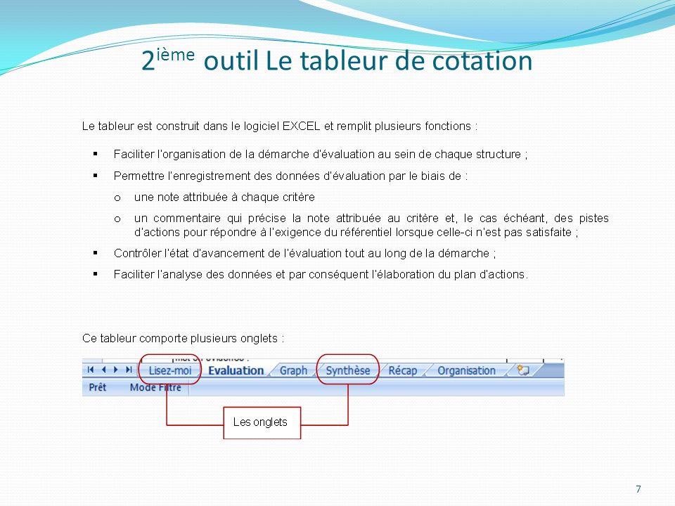 2 ième outil Le tableur de cotation 7