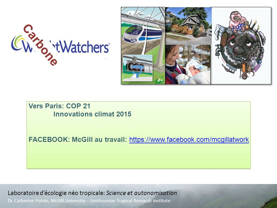 Vers Paris: COP 21 Innovations climat 2015 FACEBOOK: McGill au travail: https://www.facebook.com/mcgillatworkhttps://www.facebook.com/mcgillatwork Vers Paris: COP 21 Innovations climat 2015 FACEBOOK: McGill au travail: https://www.facebook.com/mcgillatworkhttps://www.facebook.com/mcgillatwork Carbone Laboratoire décologie néo tropicale: Science et autonomisation Dr.