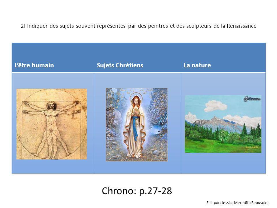 2f Indiquer des sujets souvent représentés par des peintres et des sculpteurs de la Renaissance Chrono: p.27-28 Fait par: Jessica Meredith Beausoleil