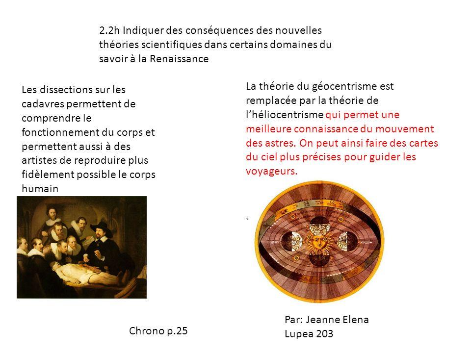 2.2h Indiquer des conséquences des nouvelles théories scientifiques dans certains domaines du savoir à la Renaissance Les dissections sur les cadavres