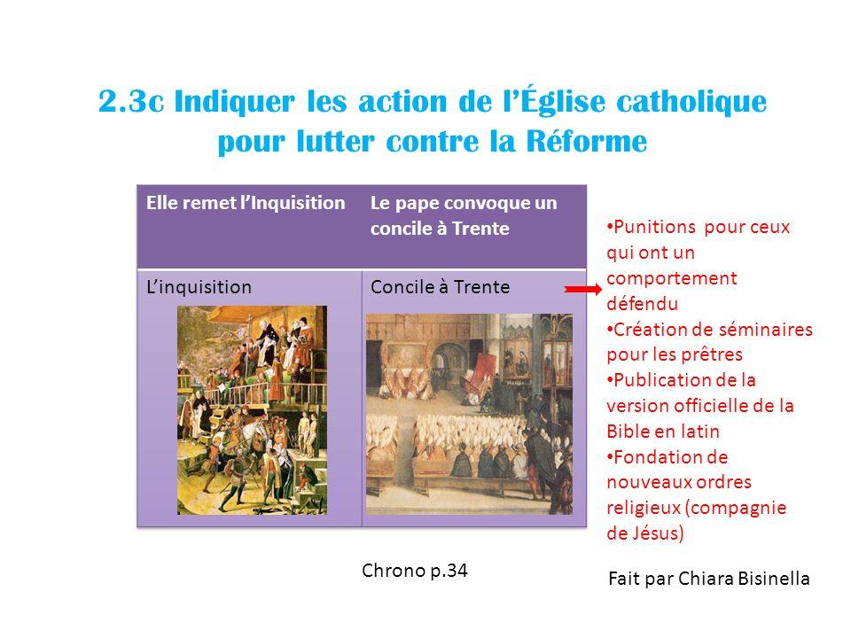 2.3c Indiquer les action de lÉglise catholique pour lutter contre la Réforme Chrono p.34 Fait par Chiara Bisinella Punitions pour ceux qui ont un comp