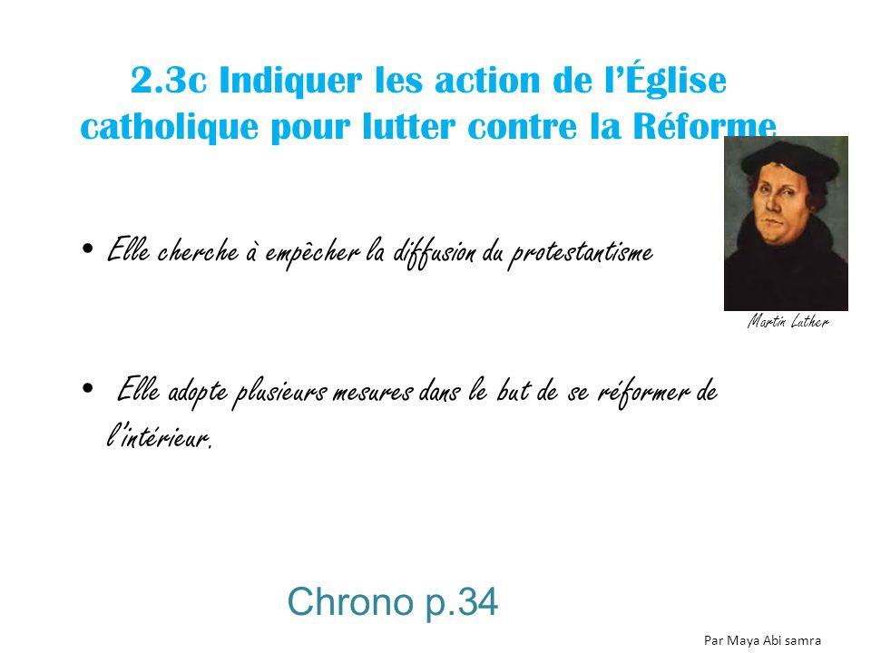 2.3c Indiquer les action de lÉglise catholique pour lutter contre la Réforme Elle cherche à empêcher la diffusion du protestantisme Elle adopte plusie