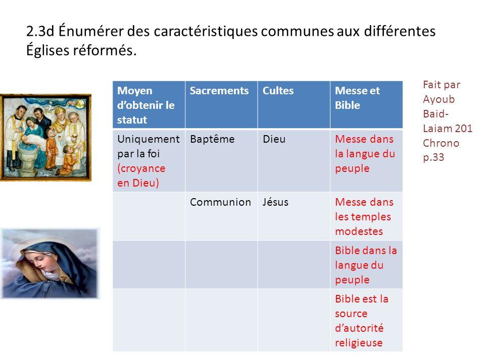 2.3d Énumérer des caractéristiques communes aux différentes Églises réformés. Moyen dobtenir le statut SacrementsCultesMesse et Bible Uniquement par l