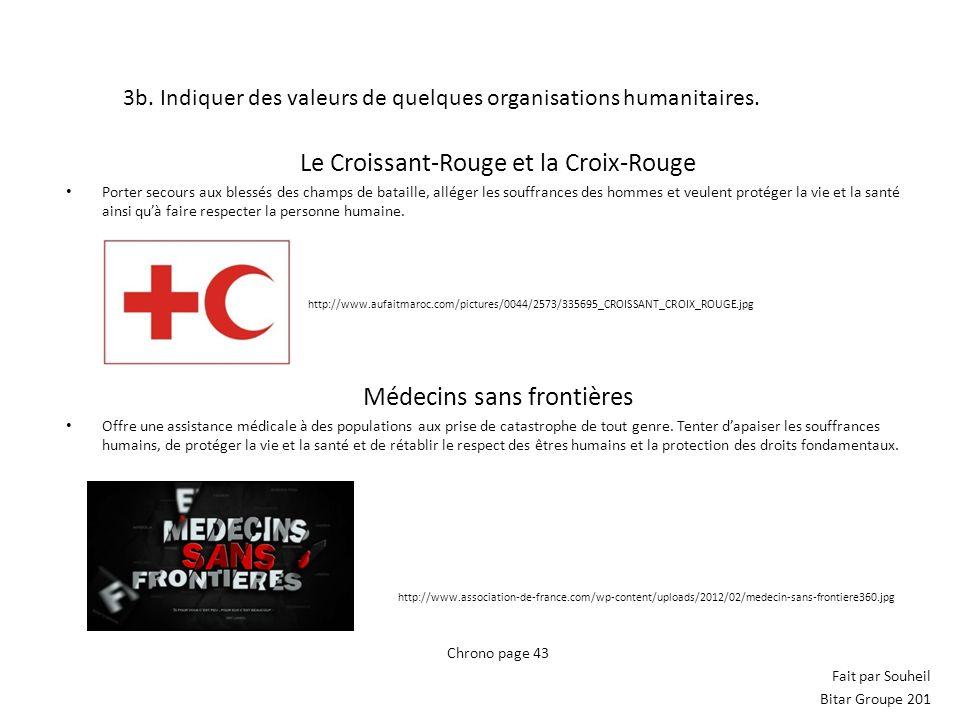 3b. Indiquer des valeurs de quelques organisations humanitaires. Le Croissant-Rouge et la Croix-Rouge Porter secours aux blessés des champs de bataill