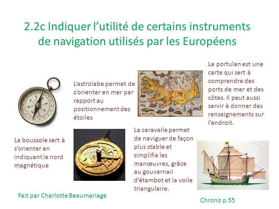2.2c Indiquer lutilité de certains instruments de navigation utilisés par les Européens La boussole sert à sorienter en indiquant le nord magnétique L