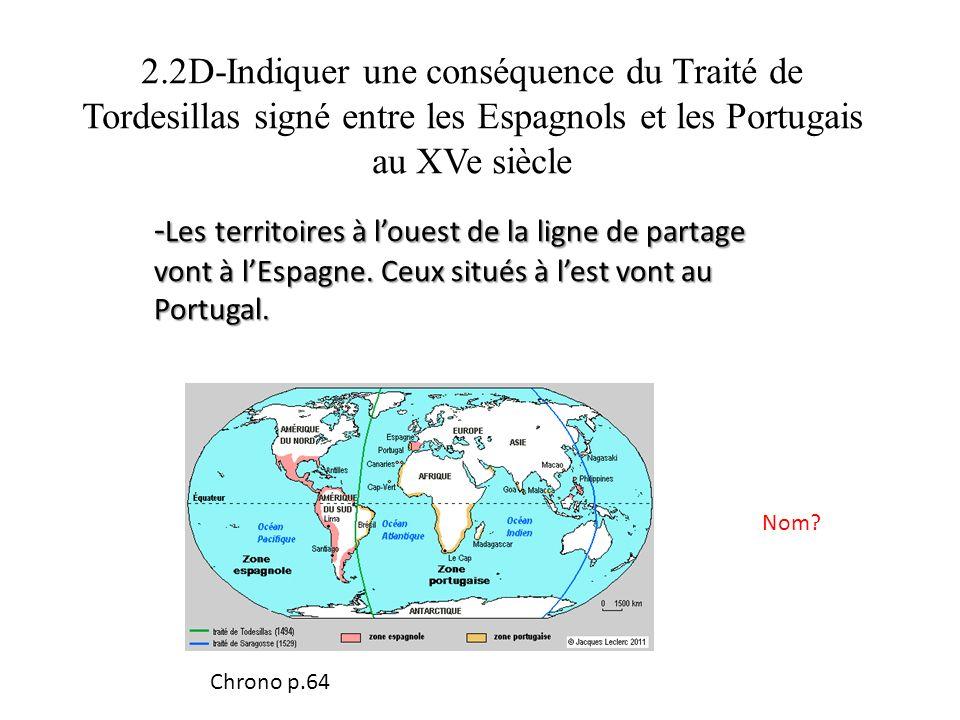 2.2D-Indiquer une conséquence du Traité de Tordesillas signé entre les Espagnols et les Portugais au XVe siècle - Les territoires à louest de la ligne de partage vont à lEspagne.