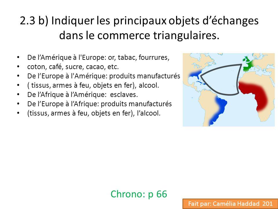 2.3 b) Indiquer les principaux objets déchanges dans le commerce triangulaires. De lAmérique à l'Europe: or, tabac, fourrures, coton, café, sucre, cac