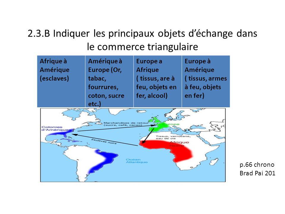 2.3.B Indiquer les principaux objets déchange dans le commerce triangulaire Afrique à Amérique (esclaves) Amérique à Europe (Or, tabac, fourrures, cot