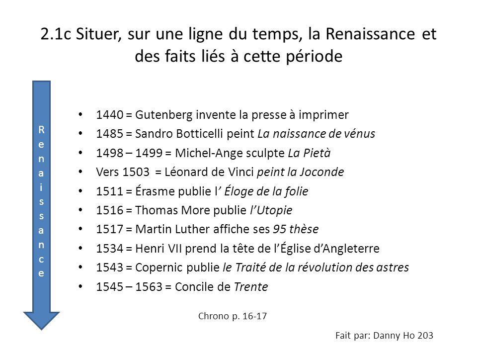 2.1c Situer, sur une ligne du temps, la Renaissance et des faits liés à cette période 1440 = Gutenberg invente la presse à imprimer 1485 = Sandro Bott