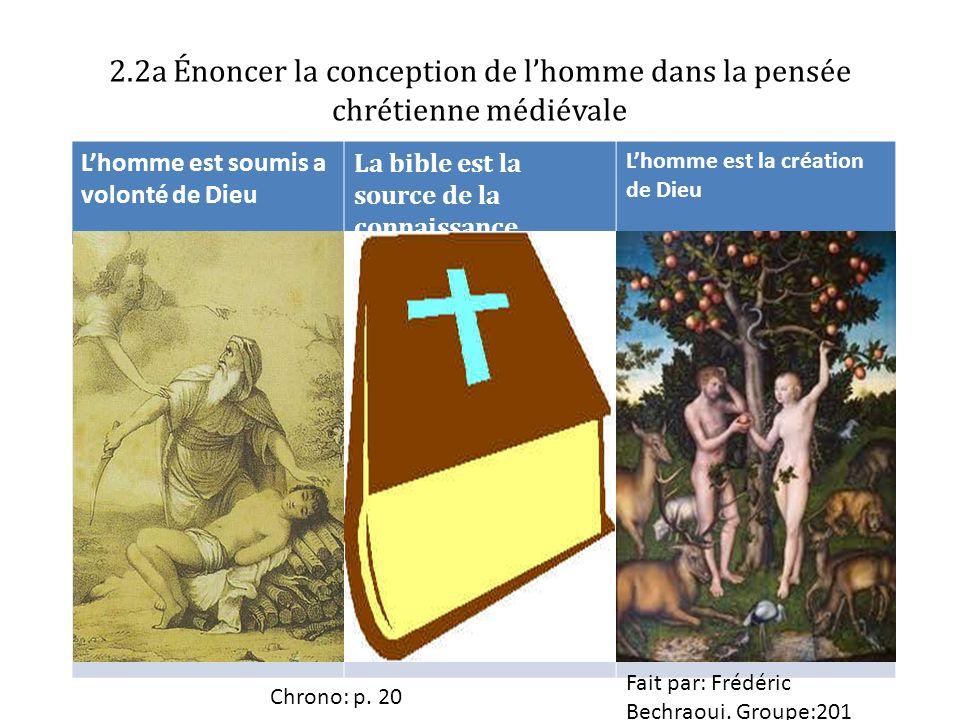 2.2a Énoncer la conception de lhomme dans la pensée chrétienne médiévale Lhomme est soumis a volonté de Dieu La bible est la source de la connaissance Lhomme est la création de Dieu Chrono: p.