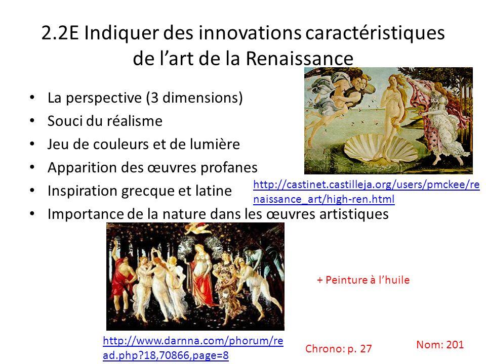 2.2E Indiquer des innovations caractéristiques de lart de la Renaissance La perspective (3 dimensions) Souci du réalisme Jeu de couleurs et de lumière