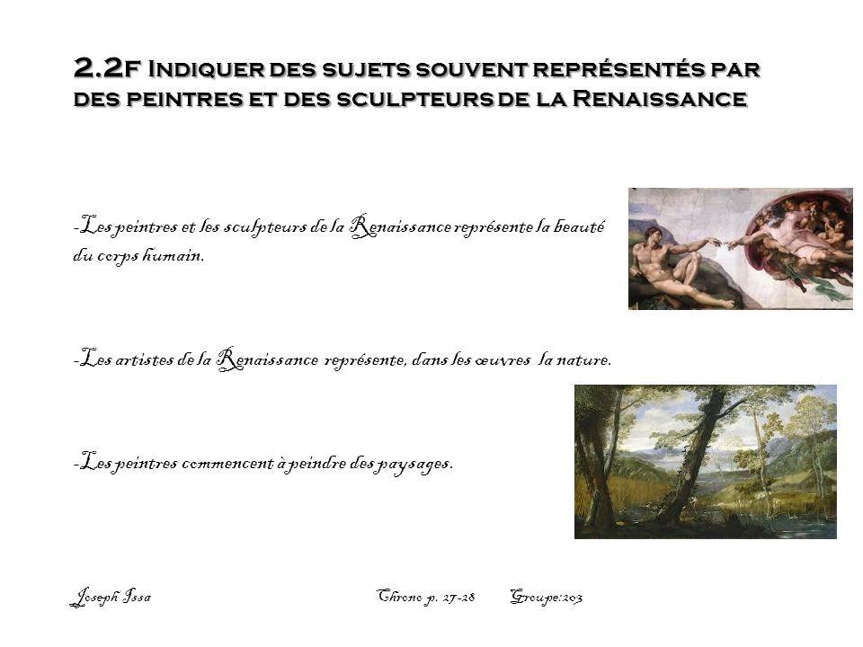 2.2f Indiquer des sujets souvent représentés par des peintres et des sculpteurs de la Renaissance -Les peintres et les sculpteurs de la Renaissance re