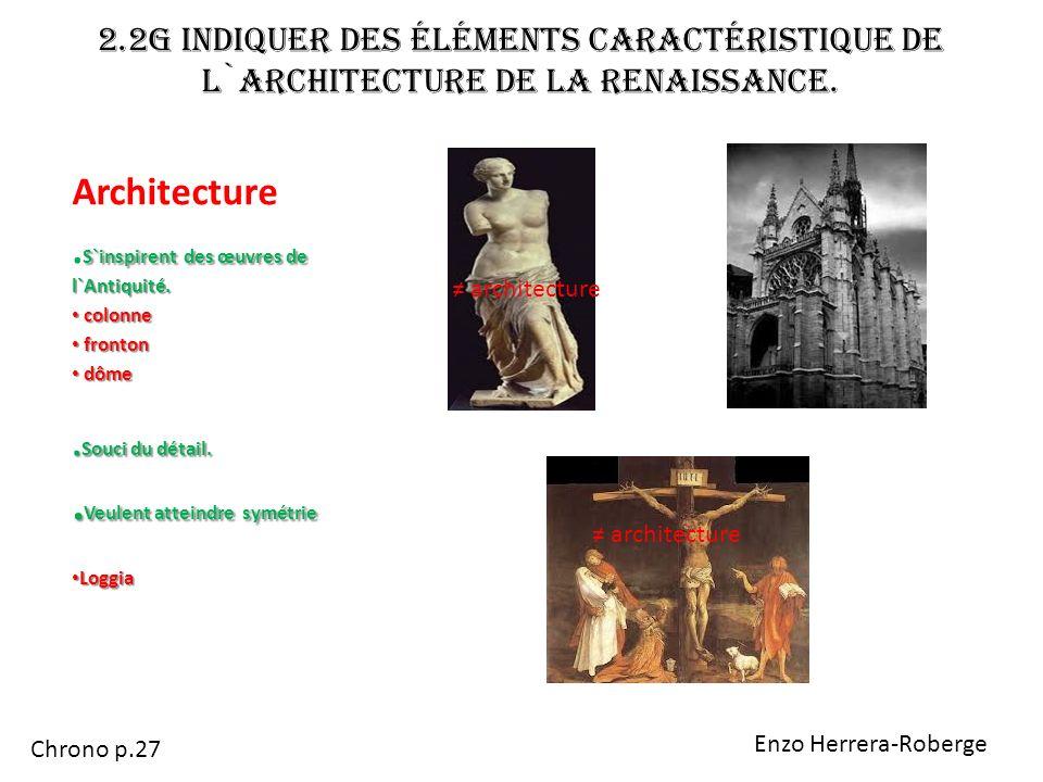 2.2g Indiquer des éléments caractéristique de l`architecture de la Renaissance. Architecture S`inspirent des œuvres de l`Antiquité.. S`inspirent des œ