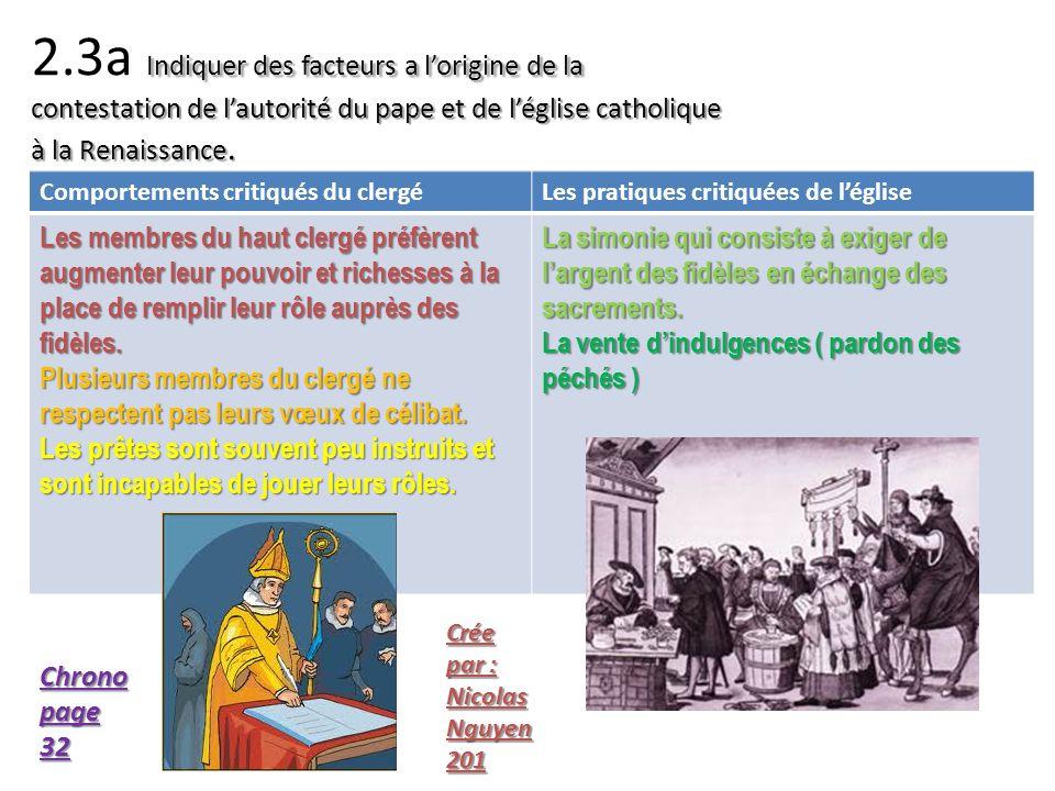 Indiquer des facteurs a lorigine de la contestation de lautorité du pape et de léglise catholique à la Renaissance. 2.3a Indiquer des facteurs a lorig