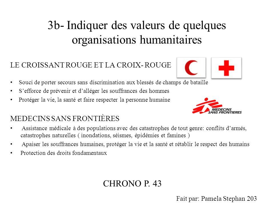 3b- Indiquer des valeurs de quelques organisations humanitaires LE CROISSANT ROUGE ET LA CROIX- ROUGE Souci de porter secours sans discrimination aux