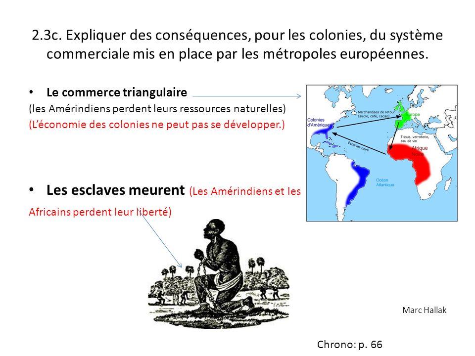 2.3c. Expliquer des conséquences, pour les colonies, du système commerciale mis en place par les métropoles européennes. Le commerce triangulaire (les