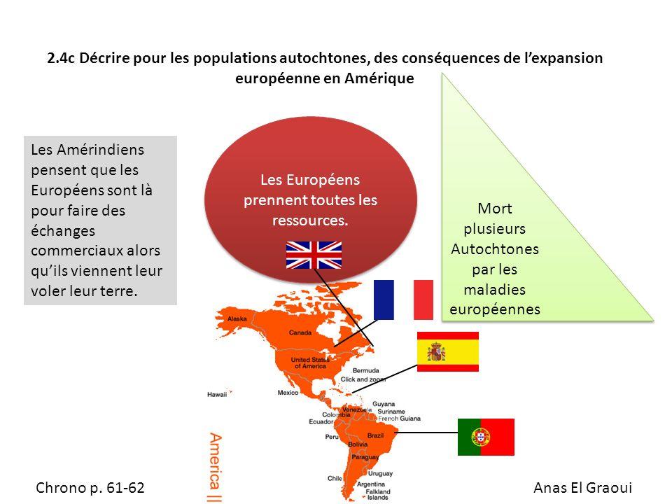 2.4c Décrire pour les populations autochtones, des conséquences de lexpansion européenne en Amérique Les Amérindiens pensent que les Européens sont là