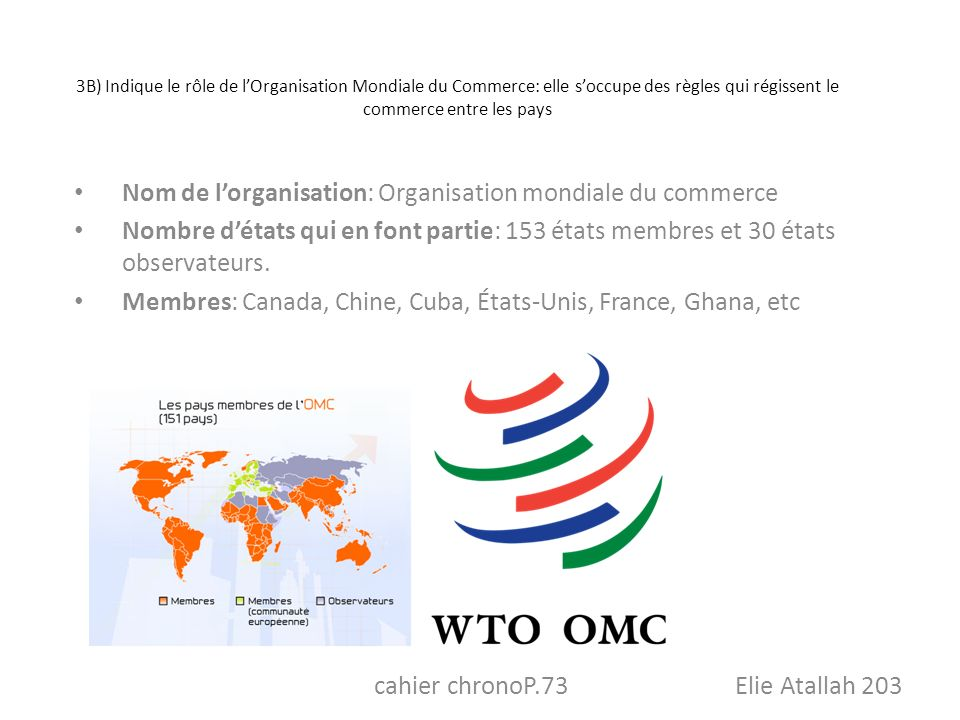 3B) Indique le rôle de lOrganisation Mondiale du Commerce: elle soccupe des règles qui régissent le commerce entre les pays Nom de lorganisation: Orga
