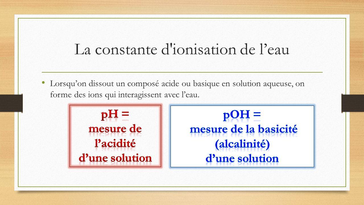 La constante d'ionisation de leau Lorsquon dissout un composé acide ou basique en solution aqueuse, on forme des ions qui interagissent avec leau.