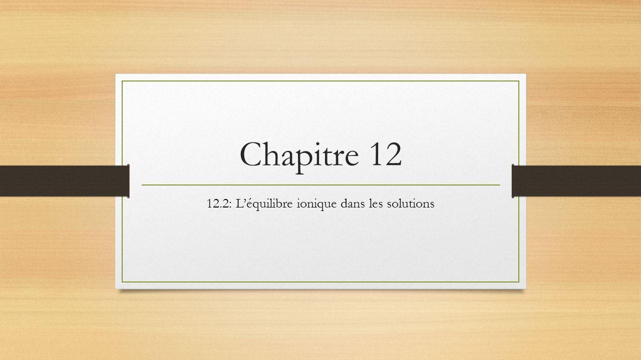 Chapitre 12 12.2: Léquilibre ionique dans les solutions