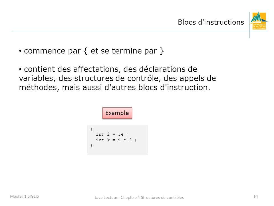 Java Lecteur - Chapitre 4 Structures de contrôles 10 Master 1 SIGLIS Blocs d instructions commence par { et se termine par } contient des affectations, des déclarations de variables, des structures de contrôle, des appels de méthodes, mais aussi d autres blocs d instruction.
