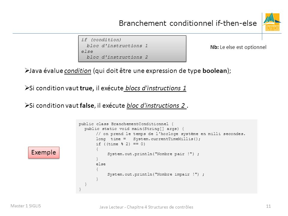 Java Lecteur - Chapitre 4 Structures de contrôles 11 Master 1 SIGLIS Branchement conditionnel if-then-else if (condition) bloc d instructions 1 else bloc d instructions 2 if (condition) bloc d instructions 1 else bloc d instructions 2 Java évalue condition (qui doit être une expression de type boolean); Si condition vaut true, il exécute blocs d instructions 1 Si condition vaut false, il exécute bloc d instructions 2.
