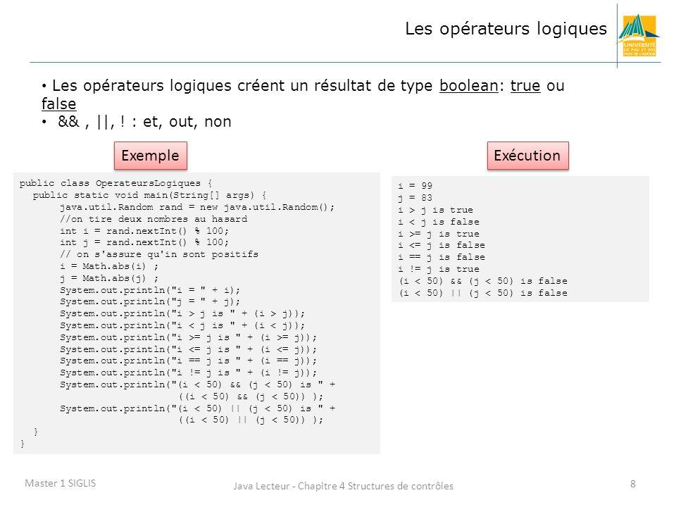 Java Lecteur - Chapitre 4 Structures de contrôles 8 Master 1 SIGLIS Les opérateurs logiques Les opérateurs logiques créent un résultat de type boolean: true ou false &&, ||, .