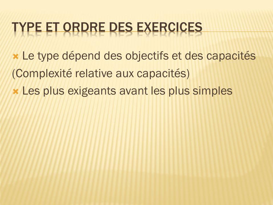 Le type dépend des objectifs et des capacités (Complexité relative aux capacités) Les plus exigeants avant les plus simples
