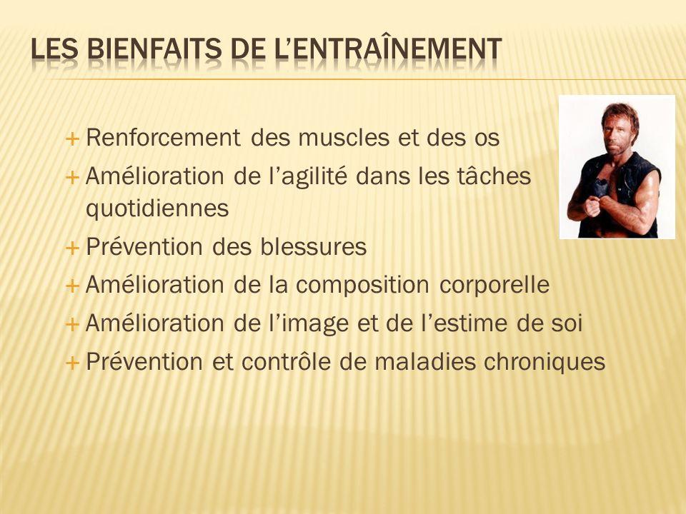 Renforcement des muscles et des os Amélioration de lagilité dans les tâches quotidiennes Prévention des blessures Amélioration de la composition corpo